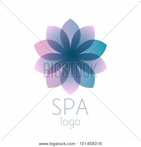Beautiful turquoise abstract flower logo sign.