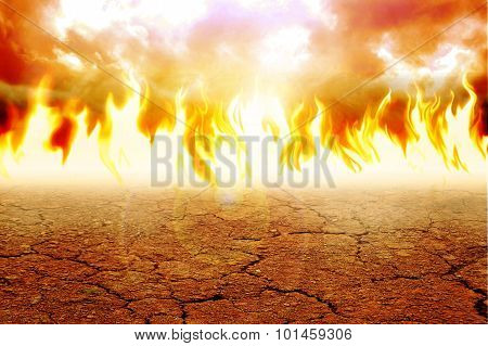 Fire on arid land