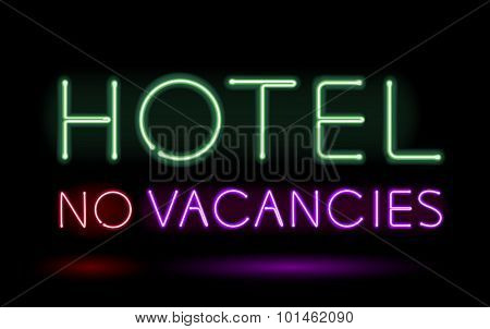Neon sign hotel vector illustration.