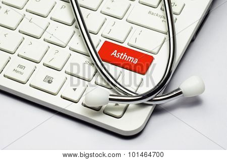 Keyboard, Asthma Text And Stethoscope