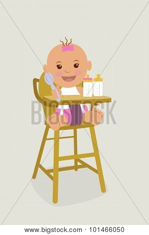 Kid in diapers, sitting on children's chair.