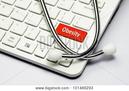 Keyboard, Obesity Text And Stethoscope