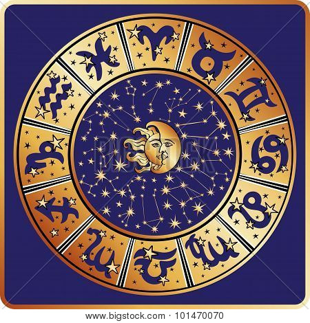 Horoscope circle.Zodiac sign,constellations,moon,sun
