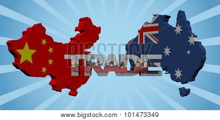 China Australia map flags with trade text illustration poster