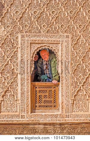 Tourists in the Ben Youssef Madrasa, Marrakesh, Morocco
