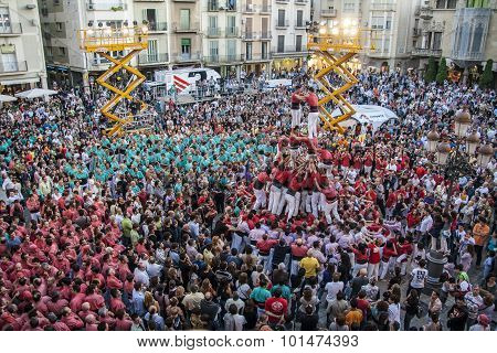 Reus, Spain - October 03, 2009: Castells Performance, a castell is a human tower built traditionally