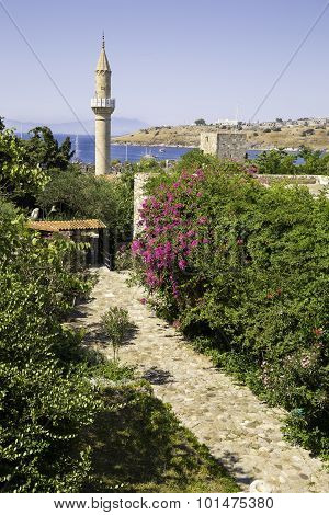 Flowery Stone Path To The Old Historical Mosque In Bodrum Castle