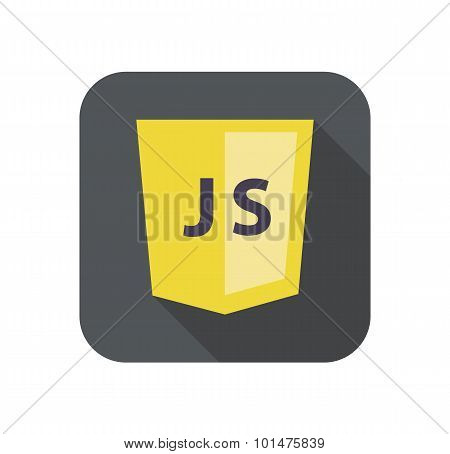 vector flat illustration of web development shield sign - javascript. isolated yellow icon js on whi