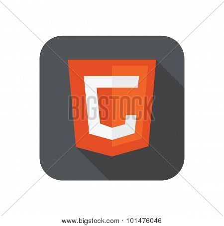 Vector illustration of orange shield with old html5 C letter for canvas, isolated web site developme