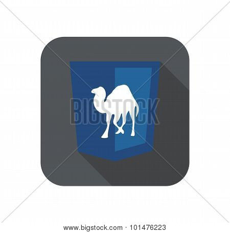 Vector illustration of purpur shield with camel programming language, isolated site development icon