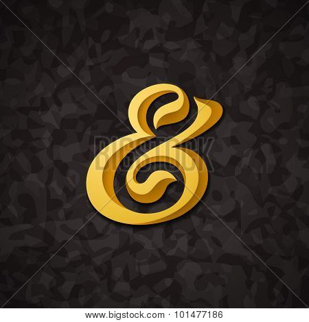 Custom decorative ampersand on abstract background. Vector illustration