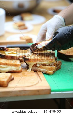 Grilled cheese sandwiches at Snowday