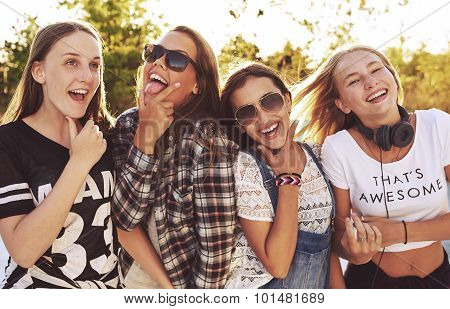 Group Of Girls Making Fun Expressions