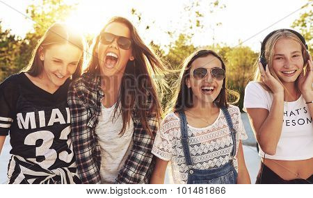 Group Of Teenagers Laughing