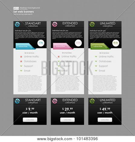 Set three tariffs web banner. Interface for site, ui, ux, app.  Pricing table, banner, order, box, button, list and bullet with plan for website in flat design, style