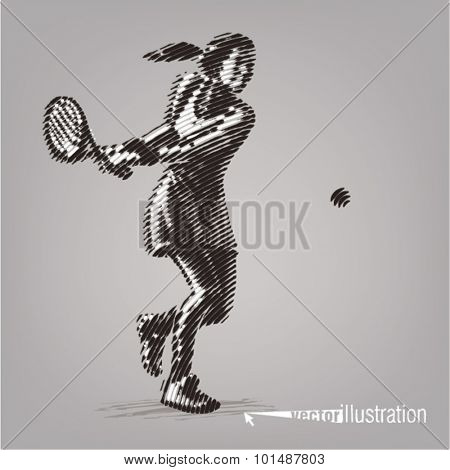 Female tennis player with racket. Illustration in the style of ink drawing