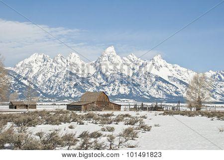 Teton Peaks And Old Barn