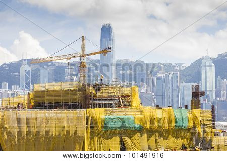 View Of Contruction Site With Cityscape Of Hong Kong