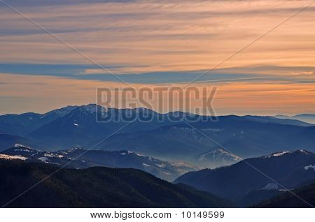 Autumn evening in mountains