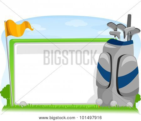 Illustration of a Blank Board Sitting Beside a Golf Flag and Caddy Bag