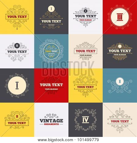 Vintage frames, labels. Roman numeral icons. 1, 2, 3 and 4 digit characters. Ancient Rome numeric system. Scroll elements. Vector poster