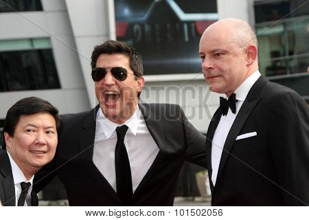 vLOS ANGELES - SEP 12:  Ken Jeong, Ken Marino, Rob Corddry at the Primetime Creative Emmy Awards Arrivals at the Microsoft Theater on September 12, 2015 in Los Angeles, CA