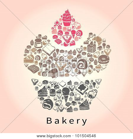 Silhouette Doodle Drawing Of Dessert Sweet And Candy Such As Cake Cheesecake Pie Donuts Crepe Roll W