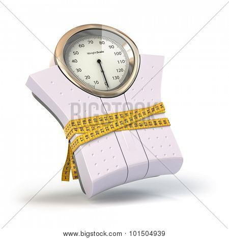 Weighting scales with  measuring tape. Diet concept. 3d