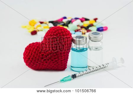 Medicine, Vaccine And Big Red Heart