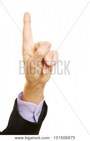 Admonishing index finger of a businesswoman pointing up