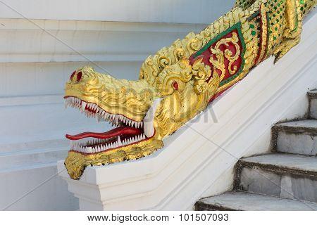 Dragon Head Statue at Haw Pha Bang Luang Prabang Laos poster