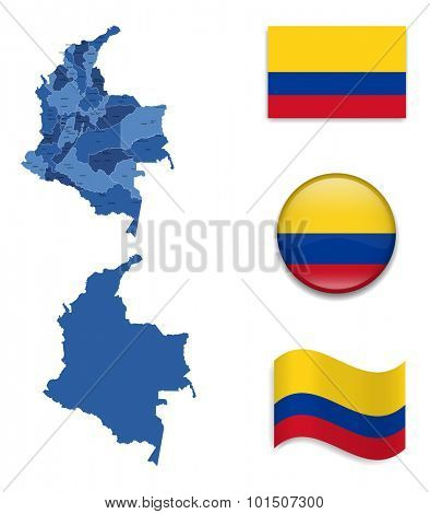 High Detailed Map of Columbia With Flag Icons