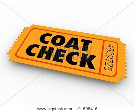 Coat Check words on an orange ticket to illustrate a service to hold your jacket or other clothing at a party, event or restaurant