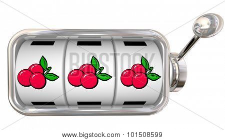 Three cherries in a row on 3 slot machine wheels or dials to illustrate big jackpot winnings betting or gambling at a game in a casino poster
