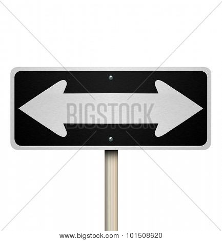 Directions on a two way street or road sign to illustrate options, alternatives or choices in intructions, leadership, management or guidance through a challenge, project, task or job