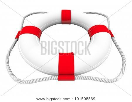 White and red life preserver or saver for use in water rescue and saving people from drowning, 3d illustration poster