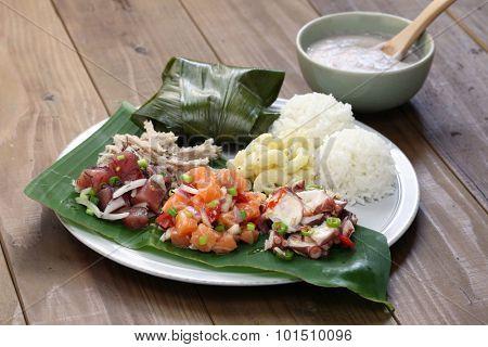 hawaiian traditional plate lunch,ahi poke,lomi lomi salmon,tako poke,kalua pork,poi,lau lau