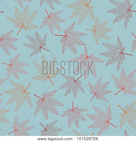 Fall background with maple leaves. Seamless pattern.