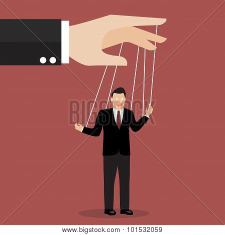 Businessman Puppet On Ropes