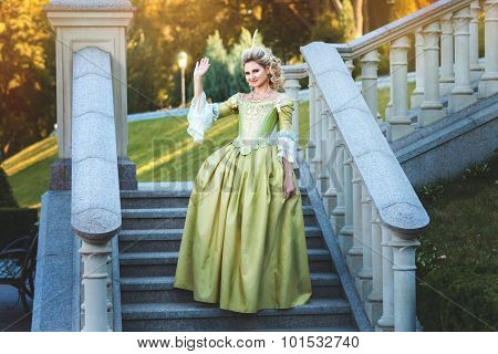 Girl Royal Dress Standing Steps Of The Palace.
