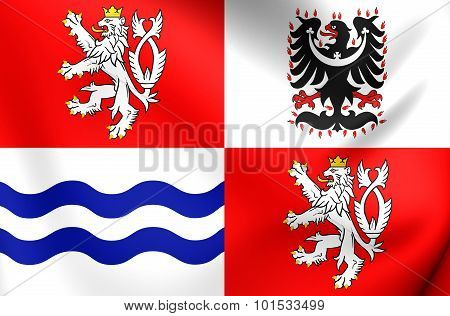 3D Flag of Central Bohemian Region Czech Republic. poster