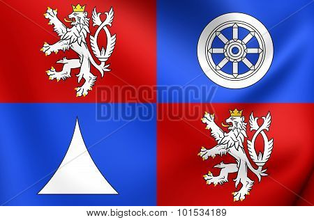 3D Flag of Liberec Region Czech Republic. Close Up. poster