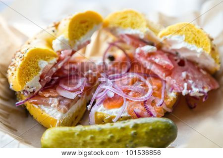 Lox On Everything Bagel With Dill Pickle