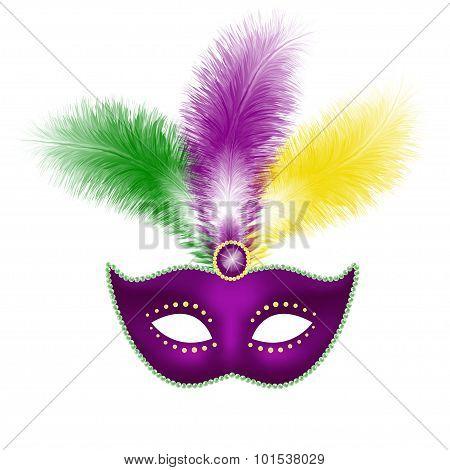 Mardi Gras mask isolated on white