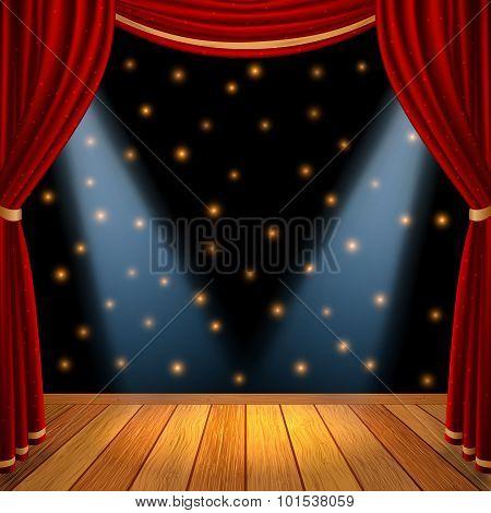 Empty theatrical scene stage