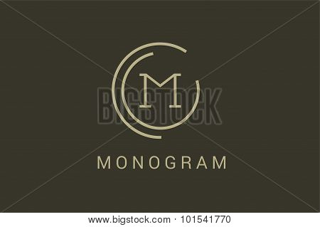 Simple line circle logo M letter
