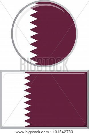 Qatari round and square icon flag. Vector illustration.