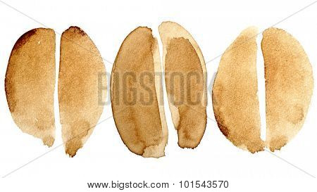 Set of coffee beans isolated on white background painted in real coffee