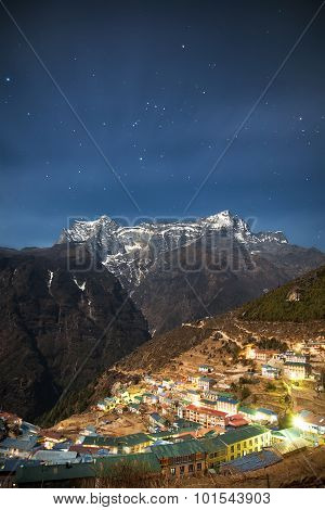Peaceful village in the heart of the mountains. Nepal Himalayas Everest region Namche Bazaar. poster