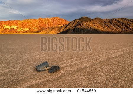 Sailing Stones in Racetrack Playa at sunset, Death Valley